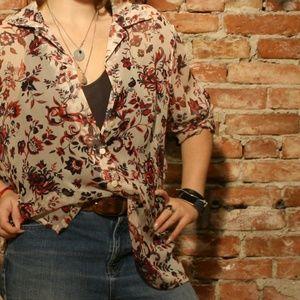 Vintage Khaliah Ali 100% Silk Sheer Paisley Blouse